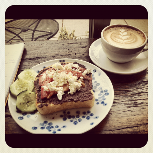 Back at 3 little figs. Feta toast and a cappuccino. An almost perfect Sunday afternoon.