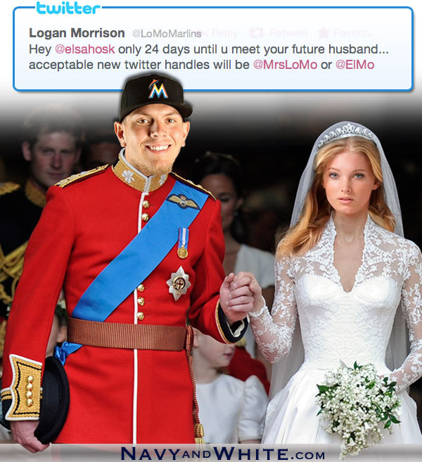 Logan Morrison's royal wedding with Elsa Husk. [Updated: Thank you Kyle Fisher, now with Miami Marlins logo]
