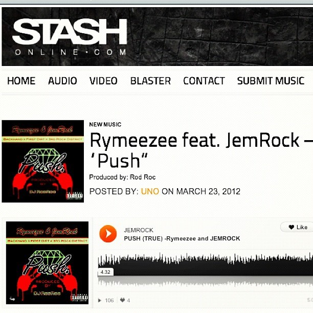 We on @stash_magazine! Check out my #NewSong #Push feat. @Jemrock1 (3rd Rock Dist.) prod. by: @rodroc « PLZ #VOTE & RATE for this song!!! » www.stashonline.com || #HipHop #SF #Vallejo #Hustle #Flow #BayArea  (Taken with instagram)