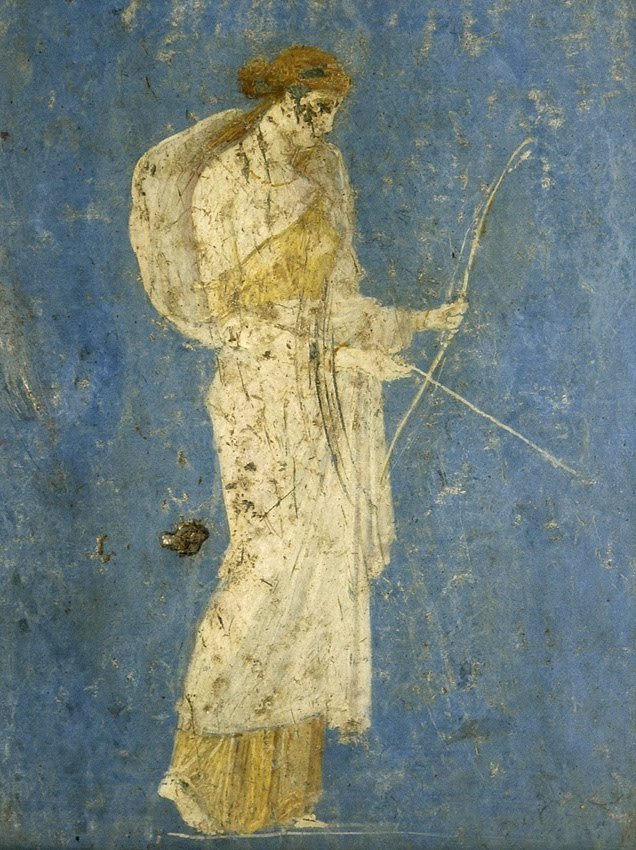 narcissusskisses:  Diana the huntress, fresco. Pompeii, Italy. 1st century A.D.