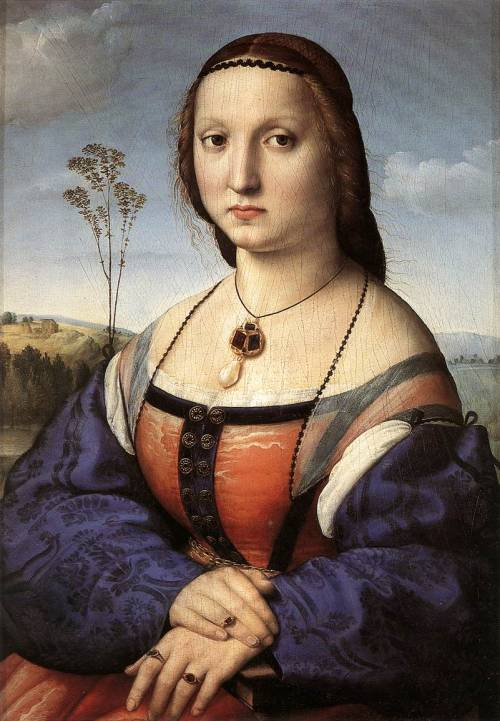 RAFFAELLO Sanzio Portrait of Maddalena Doni 1506 Oil on panel, 63 x 45 cm Galleria Palatina (Palazzo Pitti), Florence