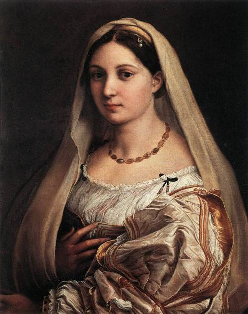 RAFFAELLO Sanzio Woman with a Veil (La Donna Velata) 1516 Oil on canvas, 82 x 60,5 cm Galleria Palatina (Palazzo Pitti), Florence  The regular oval of the young woman's face stands out against the dark background and her eyes hold an intense and penetrating look. The silk of her sleeves contrasts with her ivory-like skin, and is closely associated with the thin pleating of the dress, held up by a corset with golden embroidery.