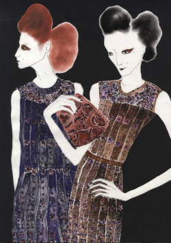 emilyillustrated:  Prada Fall 2009 I've been busy working on an exciting new project that I will unveil in the next few weeks..stay tuned!