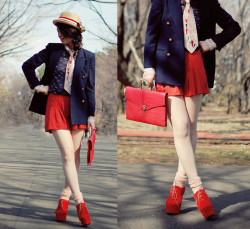 sailor chic with pink necktie (by Shan Shan)
