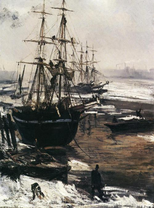 welovepaintings:  James Abbott McNeill Whistler The Thames in Ice 1860