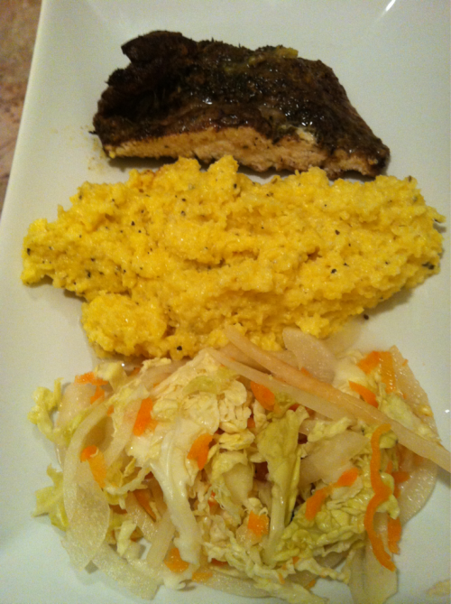 Another quick dinner snapshot: Jerk chicken, creamy polenta, and pikliz.