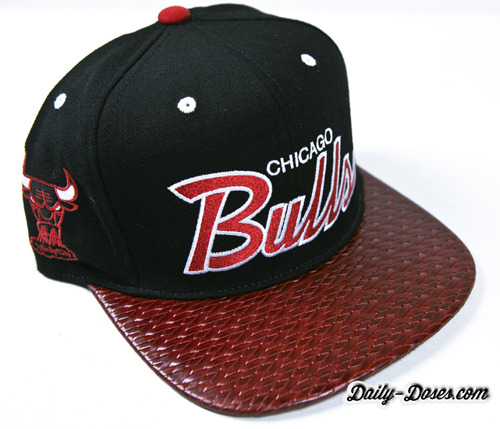 dailydosesco:  Chicago Bulls Snapback featuring Woven Italian Top-Grain Leather and Black Suede under-brim