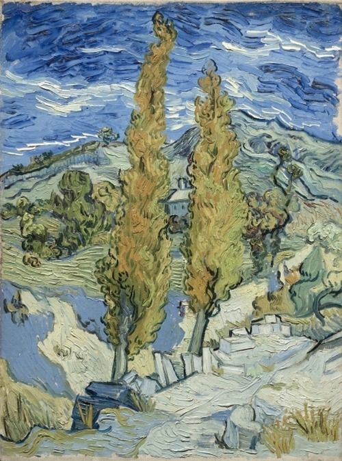 ymutate:  Vincent van Gogh (Dutch, 1853-1890), The Poplars at Saint-Rémy 1889 oil on fabric found at clevelandart.org