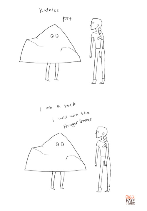 This is hilarious. sarahenni:  gingerhaze:  You're a lovely rock, Peeta.  HAHAHAHAHHAA