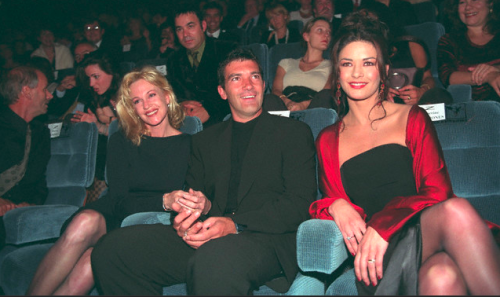 Melanie Griffith, Antonio Banderas and Catherine Zeta-Jones at a Mask of Zorro screening, Deauville Film Festival, 1998.