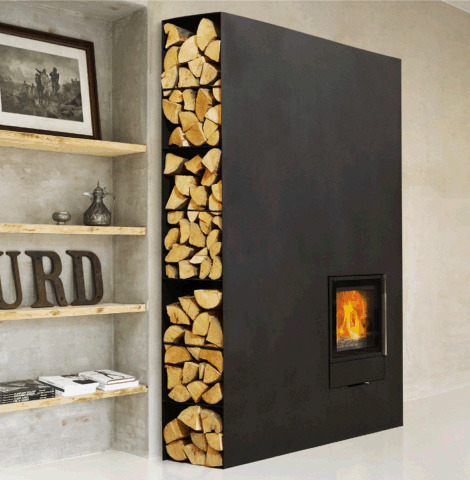theblackworkshop:  Wood Fireplace Stove by Wittus - new Cubic