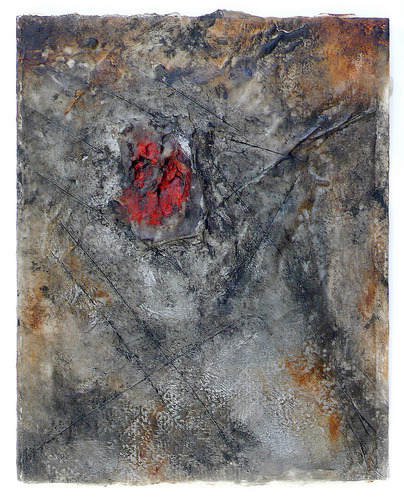"workman-studio:  Exposed Wounds 2  Mixed media encaustic on wood panel, 10"" x 8"" (by werkadopolis)"