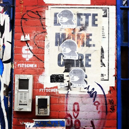 Fitschen $ Stencil + DIKTATR triple wheatpaste / #soho #nyc #streetart  (Taken with Instagram at Soho)