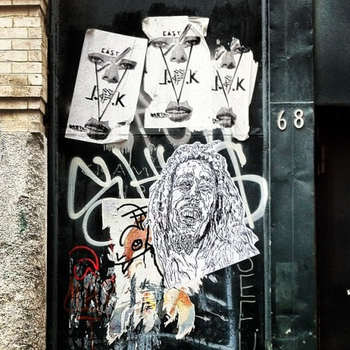 Bob Marley Wheatpaste at Crosby + Spring Streets / #soho #nyc #streetart  (Taken with Instagram at crosby + spring)