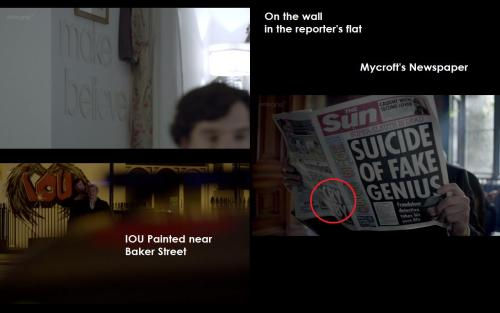 Just some things i noticed the last time i watched Reichenbach Fall!  Oh they are tricky sneaking things into the background so we do not notice…. (and the newspaper thing, that is just not very nice!)… there was also a guy knocking on the bus door, while they were on the top of St. Bart's… Kind of makes me believe that the buses were not running and put there by Sherlock… maybe?