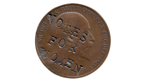 A British one pence coin from 1903 which was defaced by the Suffragettes.
