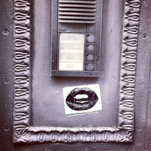 Little Sultry Lip Action on Intercom / #soho #nyc #streetart #sticker (Taken with Instagram at Little Italy)