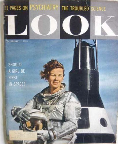 "Betty Skelton on the cover of Look magazine, January 1960, from her New York Times obituary:  Whether in the air or on land, Ms. Skelton, who died on Aug. 31 at the age of 85, was a celebrated daredevil who shattered speed and altitude records. She was a three-time national aerobatic women's flight champion when she turned to race-car driving, then went on to exceed 300 m.p.h. in a jet-powered car and cross the United States in under 57 hours, breaking a record each time.  From a Associated Press article from 2008, when she was inducted to the Motorsports Hall Of Fame:  In 1959, at 33, she was the first woman to undergo NASA's physical and psychological tests _ the same that seven original male astronauts were put through. ""I complained that NASA wasn't giving more thought to women pilots,"" she said.  See also: The Mercury 13:  Cobb, already an accomplished pilot, became the first American woman (and the only one of the Mercury 13) to undergo and pass all three phases of testing. Lovelace and Cobb recruited 19 more women to take the tests, financed by the world-renowned aviatrix Jacqueline Cochran. 13 of the women passed the same tests as the Mercury 7.  (picture via)"