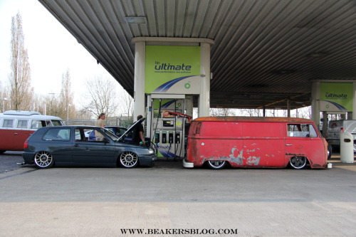 The Balls'd Aircooled Mk3 Golf and Bay Window Panel Van on route to the Volksworld Show 2012.