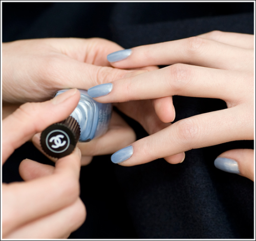 New Chanel Nail Lacquer - Sky Line. A gorgeous shimmery baby sky blue coming for Summer 2012.