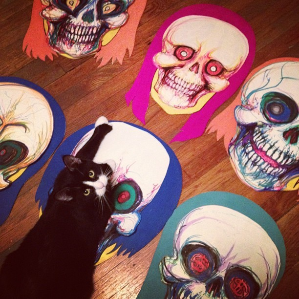 #tom #tomhart #woodcuts #skulls #otto #cute #cat (Taken with instagram)