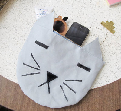 cat pouch carryall bag by fillitwithdiamonds on etsy.