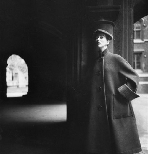 theniftyfifties:  1950s coat fashion photographed by Henry Clarke.  Phto by Henry Clark -1950's fashion coats
