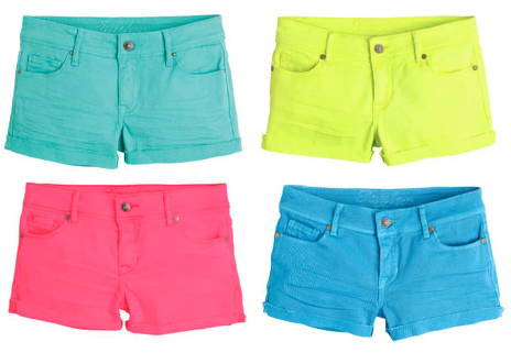 "Colored denim is on trend right now. Taylor 2 1/2"" Colored Denim Short - 7 colors. Delia's - $34.50"