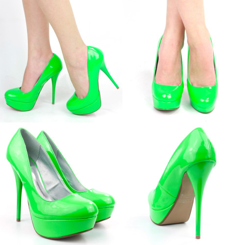 QUPID NEON GREEN PATENT LEATHER HIGH HEEL PLATFORM STILETTO WOMEN PUMPS. In various sizes on ebay for $30
