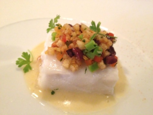 ATLANTIC HALIBUT - (With fava beans, sweet peppers, pine nuts, nicoise olive, yukon gold potato, and eastern virgin alive ail emulsion) - French Laundry - Yountville, CA