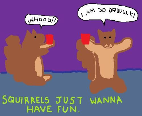 Squirrels just wanna have fun.  get druuuunk.