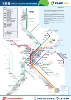 "transitmaps:  Official Map: TransLink Bus and Rail Network, Brisbane and South East Queensland, Australia It's just occurred to me that I haven't posted a single map yet from my native land, Terra Australis… so let's rectify that now with this map of Brisbane's Translink commuter rail service, supporting Railbus service that complements that service, and busways - dedicated roadways for commuter bus service (BRT). The first thing to notice about this map is the vast area it covers: over 260km (160 miles) from north to south, and around 50km (30 miles) from east to west with a staggering 23 fare zones! This map was requested by Tumblr user brentpalmer - who I know has produced an alternative unofficial map of the central Brisbane part of this map. Check it out on his Tumblr, and I'll have a more in-depth look at his work soon. Have we been there? Been there? I was born there! That said, my family moved to Sydney when I was very young, so I've never actually caught any public transit there, despite visiting many times over the years. What we like: Good definition of the different modes shown, with solid lines for rail services, white lines with coloured edges for the supporting Railbus services, and thinner coloured lines between black ""road edge"" lines for the busways. This allows future service to be shown as traditional dotted lines that still look sufficiently different to all the other modes shown. Also nice to see a matching diagrammatic style between the routes and the underlying ""geography"". What we don't like: The need to show the entire system from Gympie on the Sunshine Coast all the way down to the Gold Coast means that central Brisbane - the busiest part of the map - becomes comparatively cramped for room. For the most part, it's actually handled pretty well, but the curve on the Ferny Grove (Red) line out of Bowen Hills to Windsor is poorly executed, and the coloured call out lines to the UQ Lakes, PA Hospital and Wolloongabba stations aren't the ideal solution. The purple ""Assisted Wheelchair Access"" icons don't resolve very well at the small size as seen online, but may be better on the printed version. Our rating: Nothing outstanding, but does a good job of differentiating between modes. Gets a little cramped in the centre. Three stars.  (Source: Official TransLink website)  I miss catching trains. Used to go from home at Sherwood to high school at Indooroopilly every day, with the occasional trip into Brisbane Central or South Bank in the afternoons (or whenever I got bored and skipped out on the rest of the day) to make a nuisance of myself hanging around parks and the Queen Street Mall, with the even more infrequent trip up to Gympie North to visit family. We have a pretty good public transport system here, I wish I could use it more often."