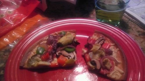 GF/DF PIZZA<3 I almost forgot to take a picture before I.devoured this delicious pizza. Udi's gf crust, olive oil and garlic in place of tomato paste, soy cheese, assorted veggies.. mmmmm.  <3staying tasty