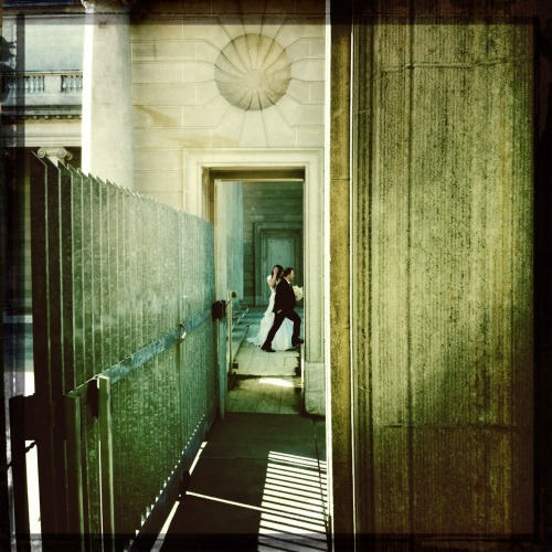 Marrieds at the Legion of Honor. John S Lens, Cano Cafenol Film, No Flash, Taken with Hipstamatic I keep seeing people in their wedding clothes around the city. It makes sense because this is a very scenic city and makes for good photos. M is surprised at my surprise, and my interest in catching these couples at a distance. It starts out inadvertently, but now I find that when I'm out, I'm looking for these married people to get their pictures. Not sure why.