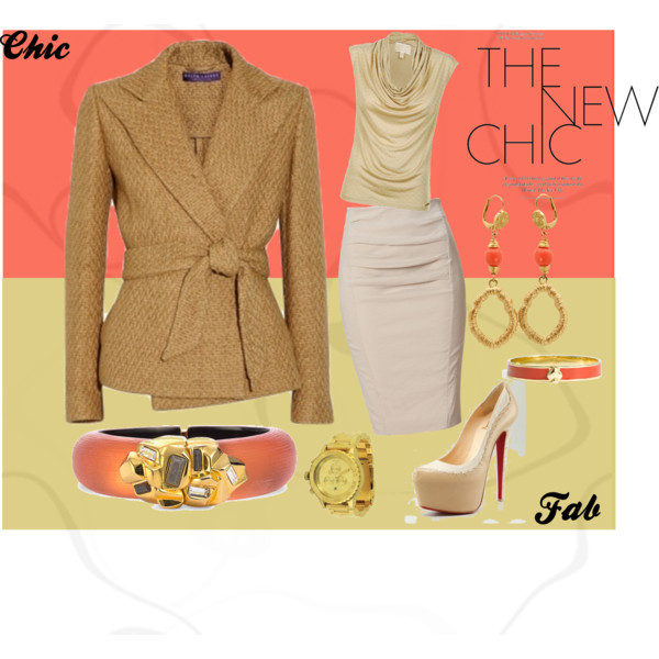 The New Chic by ghi85 featuring coral jewelryMICHAEL Michael Kors michael kors top, £105Donna Karan linen pencil skirt, $830Nixon bezel jewelry, $500Alexis bittar jewelry, $345Kate spade jewelry, $88Elie Tahari coral jewelry, $35