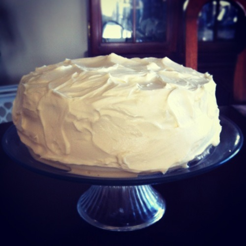 LEMON CAKE WITH CREAM CHEESE FROSTING This is an encore. I made this cake a few weeks ago for my sister's birthday. I sent a slice over to my grandparents house and my papa called me later that day to tell me he wanted the exact same cake for his birthday (he turned 79!). I did not want to make this cake again. It's undeniable. And if it's in the house, I will eat an unconscionable amount. After we filled him with wine, steak, and cake my papa gave me some advice: quit being a copywriter, open a bakery, go on the Dragon's Den and ask them for some money. Sounds good, Pop Pop!  Get the recipe here.