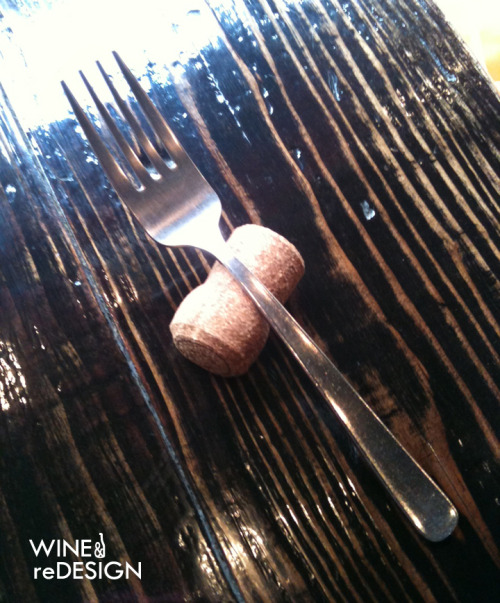 "It's a fork on a cork!  While I was in Japan, I stopped at this cute bistro that set each fork on top of a cork with a flattened bottom.  It was cute, unexpected, and it kept the fork clean and off the table.  I'm definitely going to use this inexpensive trick at a dinner party!  CHEERS!…and, ""Arigato, Tokyo!"""
