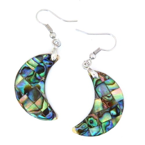 Natural abalone shell dangle earrings from Pearlz Ocean