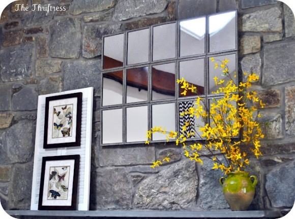 truebluemeandyou:  DIY Pottery Barn Inspired Large Tiled Mirror. Made by Sarah from The Thriftress Using fifteen Dollar Store weathered framed mirrors (see more of her huge mirror here). I posted the smaller $10 Pottery Barn Knockoff Mirror by Dollar Store Crafts here. The tutorial for the Large Tiled Mirror is at Dollar Store Crafts here.