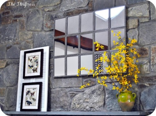 truebluemeandyou:  DIY Pottery Barn Inspired Large Tiled Mirror. Made by Sarah from The Thriftress Using fifteen Dollar Store weathered framed mirrors (see more of her huge mirror here). I posted the smaller $10 Pottery Barn Knockoff Mirror by Dollar Store Crafts here. The tutorial for the Large Tiled Mirror is at Dollar Store Crafts here.   At the rate I'm going it looks like I'll have to do a DIY project everyday this summer to get through them all! This would make for a great piece above any bed and can match just about any room decor. You could also try painting the frames around the mirrors as well to give it a different look. Hopefully the dollar stores in Canada carry some mini mirrors too!