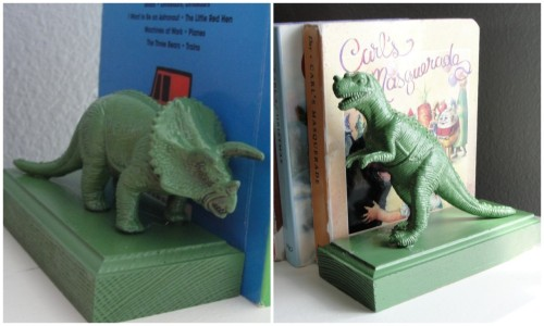 DIY Dinosaur Bookends. This so reminds me of Toy Story. I love altered plastic animals and these were made for under $4 (because she got the wood at Home Depot). Tutorial by Mommy in the Mountains here.