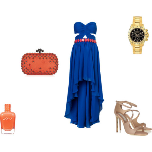 Monaco Gala by sheenatschang featuring strap shoesCutout dressStella McCartney strap shoes, £465Bottega veneta handbag, $1,780Rolex watch, $100Nail polish