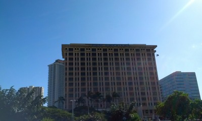 Pan American building in Honolulu, HI. The sun was really bright and almost backlit the building so it's hard to see the sign at the top.