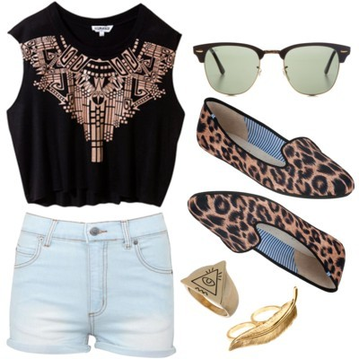 Lazy Summer Day by iampurrfect   Beat the heat with a black tribal print cropped top, animal print loafers. Spice up the outfit with Ray-ban Classic Clubmaster, triangle & a feather connector ring.  What I'll wear on a lazy summer day.