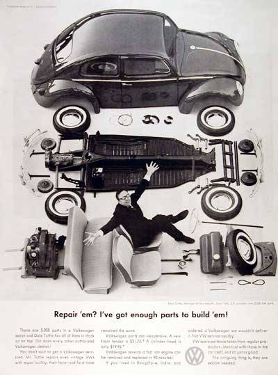 1960 Volkswagen Beetle Spare Parts original vintage advertisement. There are 5,008 parts in a Volkswagen Beetle. Each authorized dealer has them all in stock or on tap. via adclassix