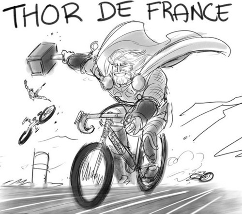 rinjirenee:  justbrevity:  Thor de France  THIS WHEELED HORSE IS ENJOYABLE, I LIKE IT