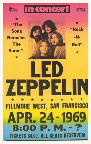 Led Zeppelin Concert 1969 - Tickets $4