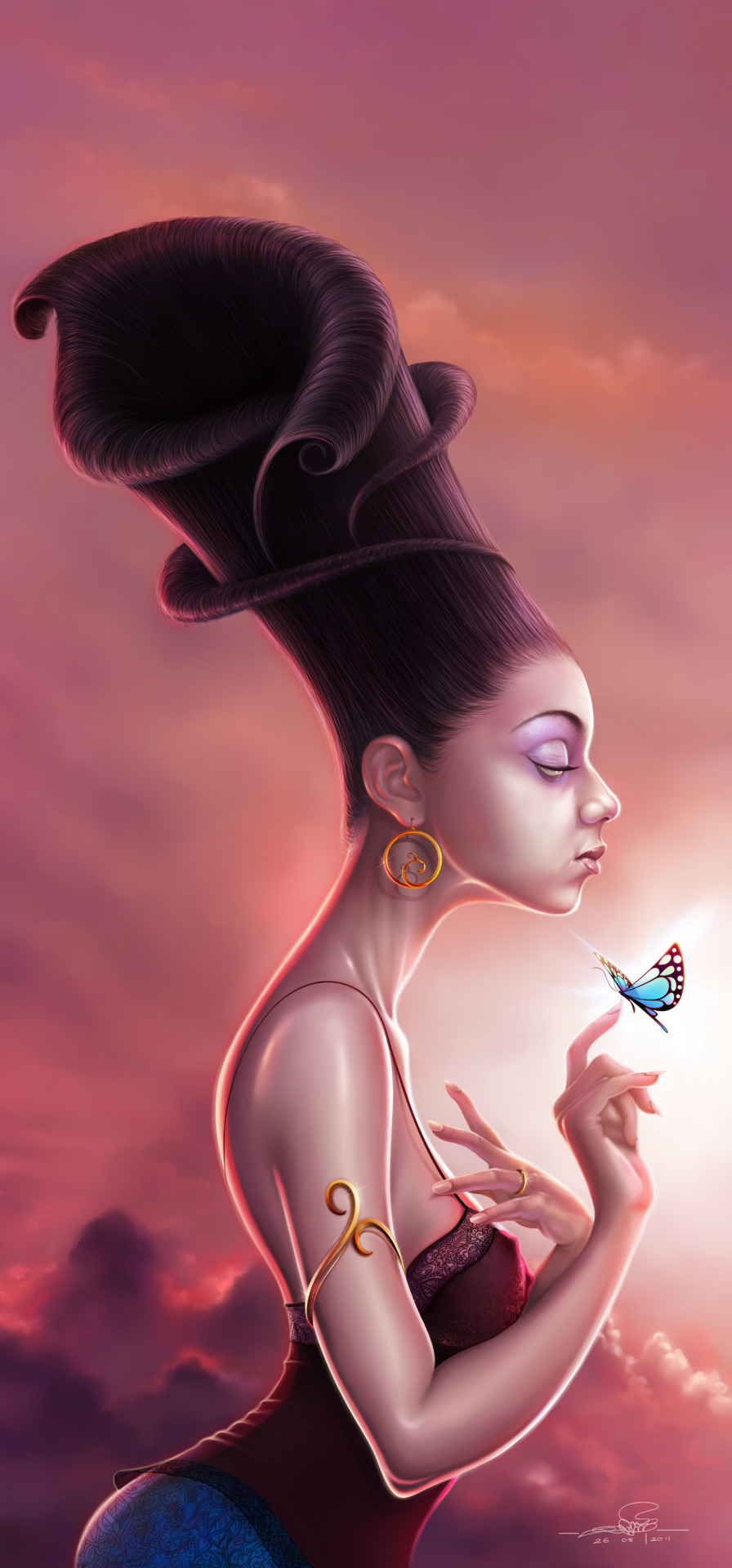rawbdz:  Orchid QueenThis pretty damsel with a flowery hairstyle was an inspiration I had while sketching a flower for a project I was on. I had to do quite a bit of browsing for lighting up this sketch the way it has been done and also to perfect, for which I looked up the works of many wonderful artists.