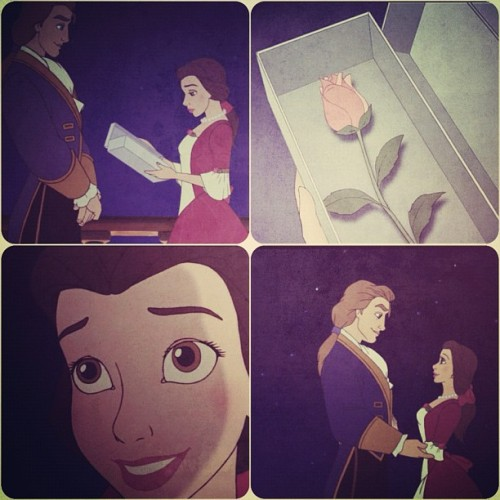 #disney #beast #belle #disneyprincess #princess #beautyandthebeast #theenchantedchristmas #love #prince #present #rose #sweet #christmas #couple #instagram #instapad #cartoon  (Taken with instagram)