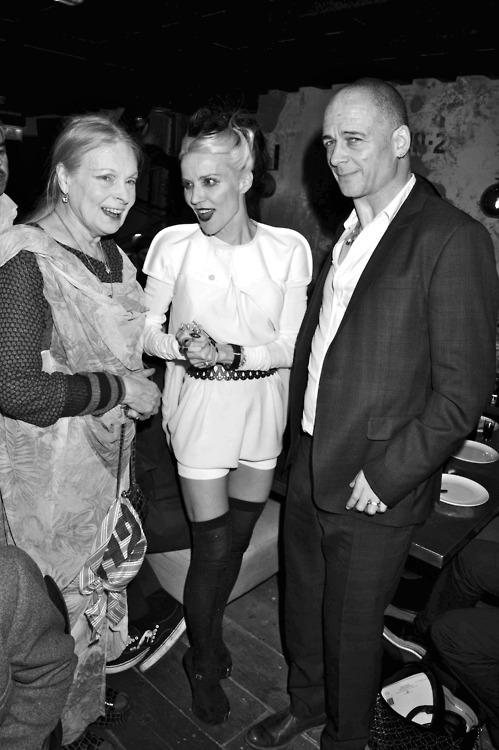 Vivienne Westwood, Daphne Guinness and Dinos Chapman in London, March 2012.